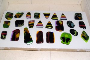 Fused Glass Cabochons - After Firing