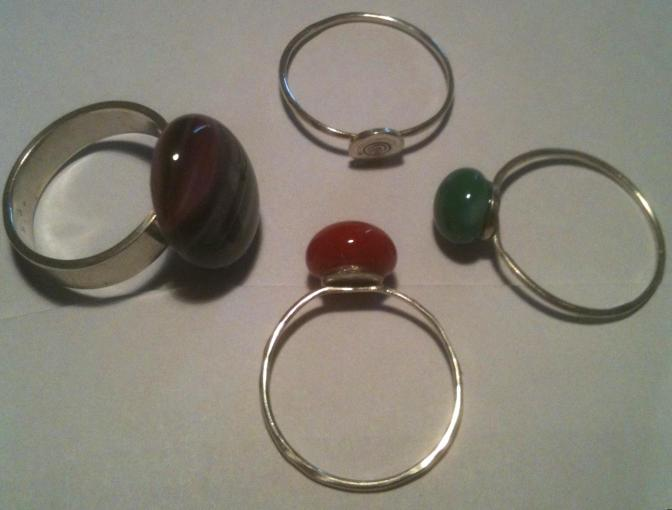 Rings With Glass Cabs